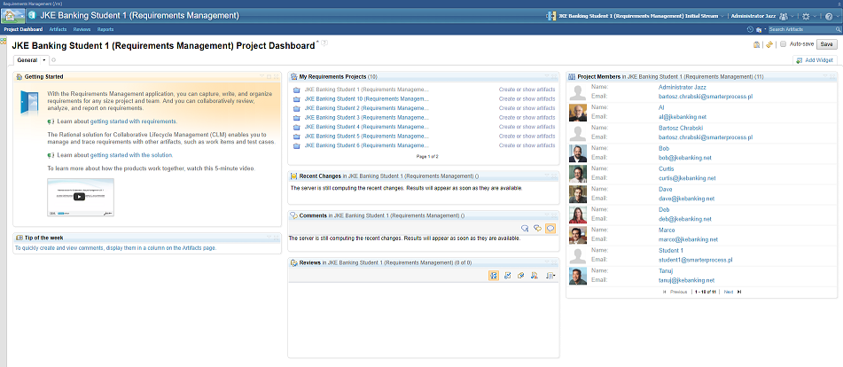 IBM Rational DOORS NG - Project dashboard