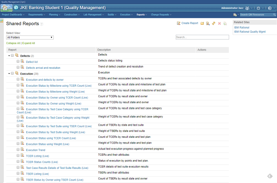 IBM Rational Quality Manager - List of available reports