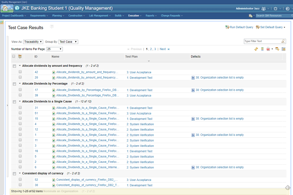 IBM Rational Quality Manager - List of executed test cases