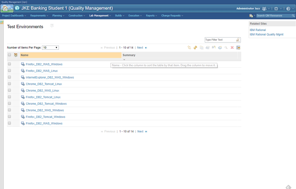 IBM Rational Quality Manager - Test Lab Management module