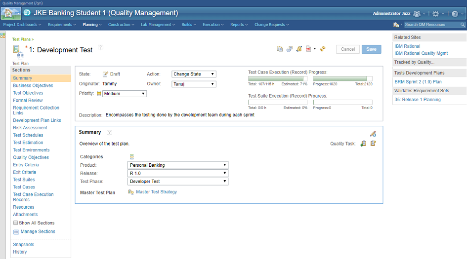 IBM Rational Quality Manager - Test planning capabilities