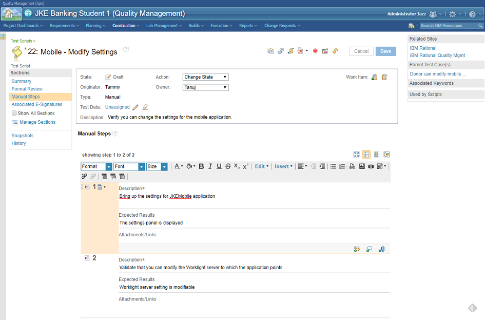 IBM Rational Quality Manager - Manual test script editor