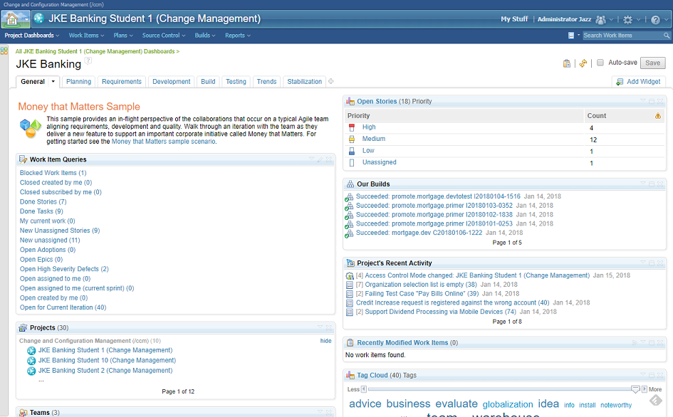 IBM Rational Team Concert - Project dashboard