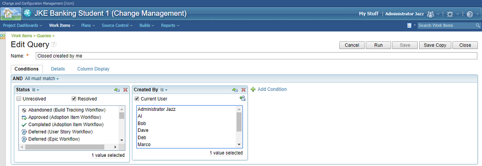 IBM Rational Team Concert - Work Item query engine