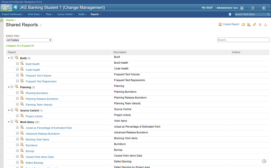 IBM Rational Team Concert - List of available reports