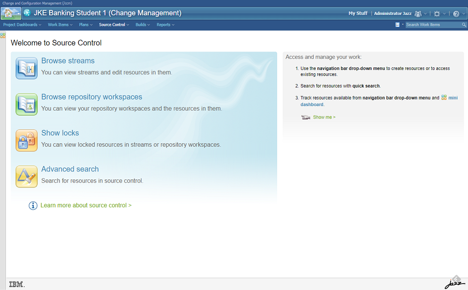 IBM Rational Team Concert - Source Code Mananagement module